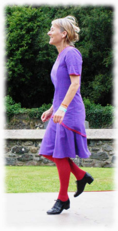 Jane Sheard dancing at Sticklepath August 2004